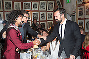 Haider Ackermann; JAY JOPLING; EVGENY LEBEDEV , Charles Finch and  Jay Jopling host dinner in celebration of Frieze Art Fair at the Birley Group's Harry's Bar. London. 10 October 2012.
