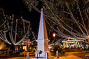 Christmas lights decorate the Plaza de la Constitucion in St. Augustine, Florida. The lights are part of the Night of Lights festival.