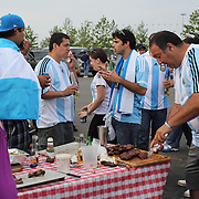 Argentinian fans enjoy a BBQ in the car park at MetLife Stadium after  the Brazil V Argentina International Football Friendly match at MetLife Stadium, East Rutherford, New Jersey, USA. 9th June 2012. Photo Tim Clayton