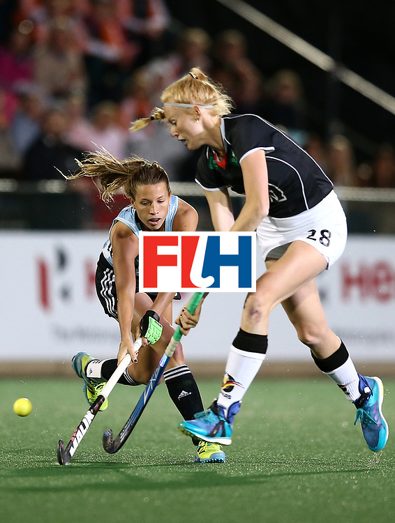 JOHANNESBURG, SOUTH AFRICA - JULY 20:  Delfina Merino of Argentina battles with Nina Notman of Germany during day 7 of the FIH Hockey World League Women's Semi Finals semi final match between Germany and Argentina at Wits University on July 20, 2017 in Johannesburg, South Africa.  (Photo by Jan Kruger/Getty Images for FIH)