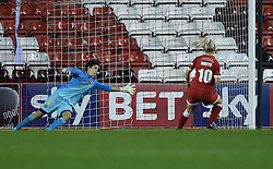 Bristol Academy Womens' Nikki Watts' penalty gets past the FC Barcelona keeper - Photo mandatory by-line: Paul Knight/JMP - Mobile: 07966 386802 - 13/11/2014 - SPORT - Football - Bristol - Ashton Gate Stadium - Bristol Academy v FC Barcelona - UEFA Women's Champions League