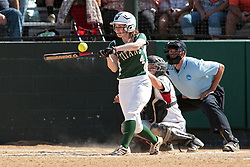 09 May 2014:  Katie Caulfield bats, Maddie Dieleman catches during an NCAA Division III women's softball championship series game between the Lake Forest Foresters and the Illinois Wesleyan Titans in Bloomington IL