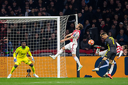 10-04-2019 NED: Champions League AFC Ajax - Juventus,  Amsterdam<br /> Round of 8, 1st leg / Ajax plays the first match 1-1 against Juventus during the UEFA Champions League first leg quarter-final football match / Andre Onana #24 of Ajax, Daley Blind #17 of Ajax, Cristiano Ronaldo #7 of Juventus, Nicolas Tagliafico #31 of Ajax