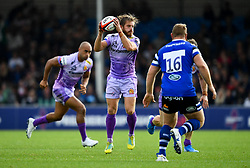 Gareth Steenson of Exeter Chiefs is marked by Ross Batty of Bath Rugby - Mandatory by-line: Ryan Hiscott/JMP - 21/09/2019 - RUGBY - Sandy Park - Exeter, England - Exeter Chiefs v Bath Rugby - Premiership Rugby Cup