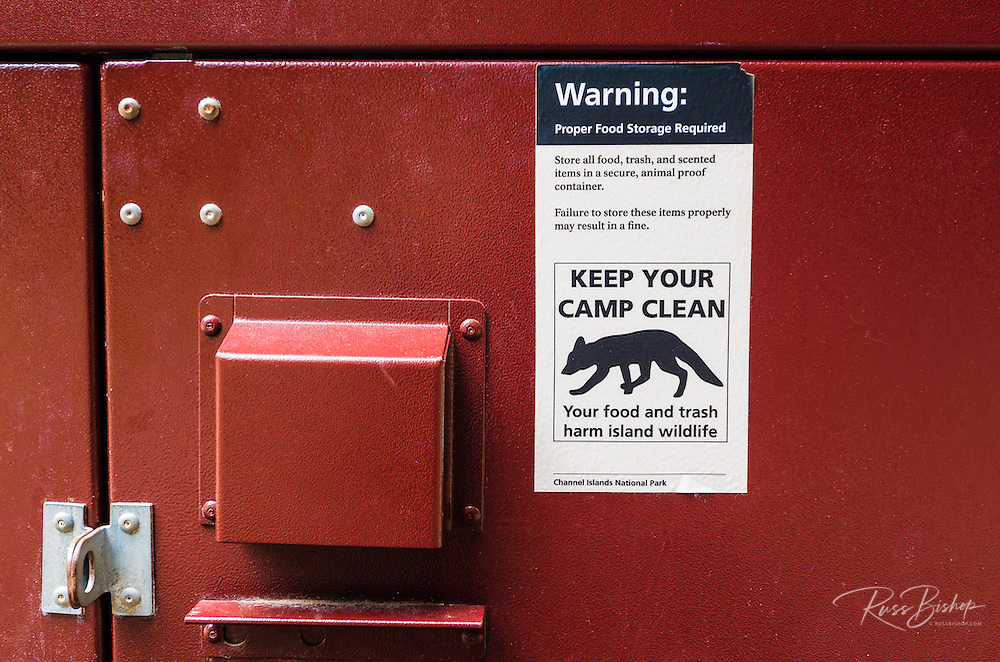Food storage locker at Scorpion Canyon Campground, Santa Cruz Island, Channel Islands National Park, California USA