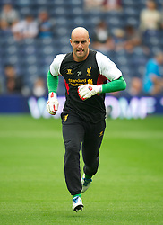 WEST BROMWICH, ENGLAND - Saturday, August 18, 2012: Liverpool's goalkeeper Jose Reina warms-up before the opening Premiership match of the season against West Bromwich Albion at the Hawthorns. (Pic by David Rawcliffe/Propaganda)