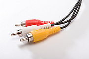 male plugs with cable on white background