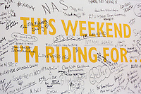 LONDON UK 28TH JULY 2016:  Visitors messages on the Evans Cycles wall on the opening day . The Prudential RideLondon Cycling Show at the Excel Centre. Prudential RideLondon in London 29th July 2016<br /> <br /> Photo: Neil Turner/Silverhub for Prudential RideLondon<br /> <br /> Prudential RideLondon is the world&rsquo;s greatest festival of cycling, involving 95,000+ cyclists &ndash; from Olympic champions to a free family fun ride - riding in events over closed roads in London and Surrey over the weekend of 29th to 31st July 2016. <br /> <br /> See www.PrudentialRideLondon.co.uk for more.<br /> <br /> For further information: media@londonmarathonevents.co.uk