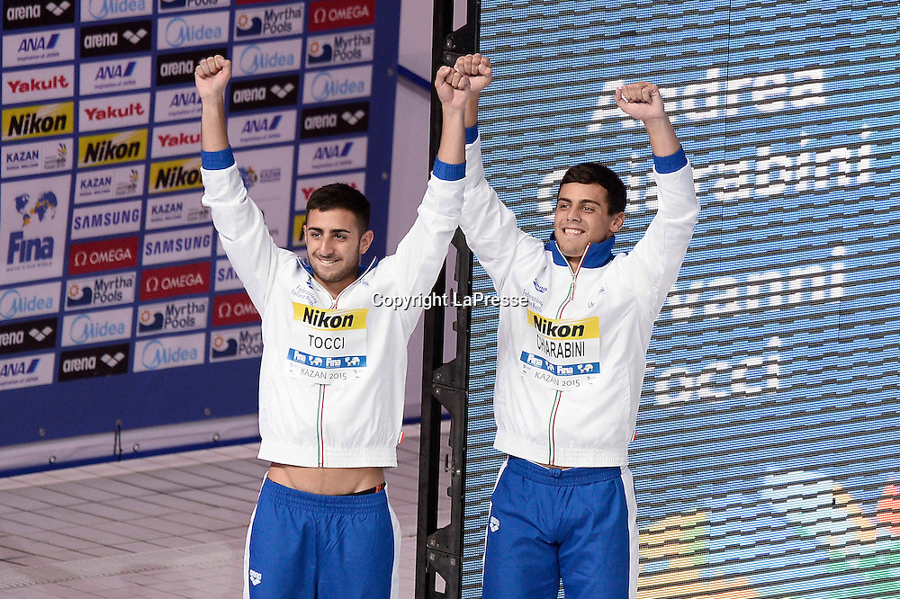 Foto Fabio Ferrari - LaPresse<br /> 28/07/2015 Kazan ( Russia ) <br /> Sport <br /> 16 Campionati del mondo FINA 2015 - Diving - 3m Syncro Piattaforma Uomini - finale<br />  nella foto: CHIARABINI Andrea ,TOCCI Giovanni  (Ita)<br /> <br /> Photo Fabio Ferrari - LaPresse<br /> 28 July 2015 Kazan ( Russian ) <br /> Sport<br /> 16th FINA World Championship 2015 - Diving - Men's 3m Synchro Springboard - final.<br /> in the picture:CHIARABINI Andrea ,TOCCI Giovanni  (Ita)