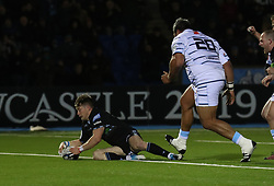 Glasgow Warriors George Horne scores a try against Cardiff Blues during the Heineken Champions Cup match at Scotstoun Stadium, Glasgow.