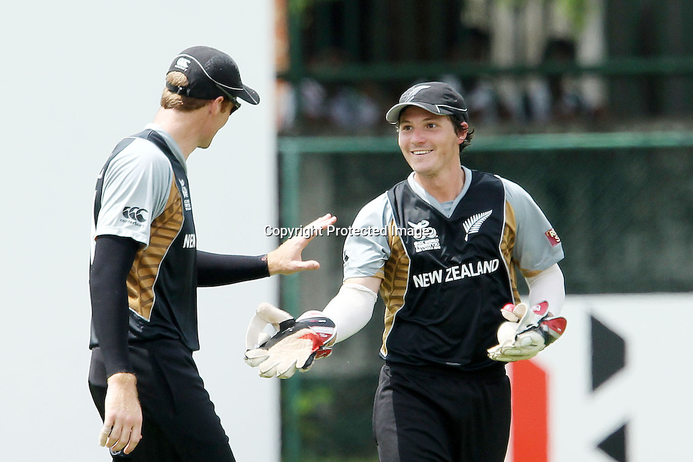 BJ Watling celebrates the wicket of Faf du Plessis during the ICC Twenty 20 World Cup warm up match between New Zealand and South Africa held at the Colts Cricket Club in Colombo, Sri Lanka on the 17th September 2012<br /> <br /> Photo by Ron Gaunt/SPORTZPICS/PHOTOSPORT