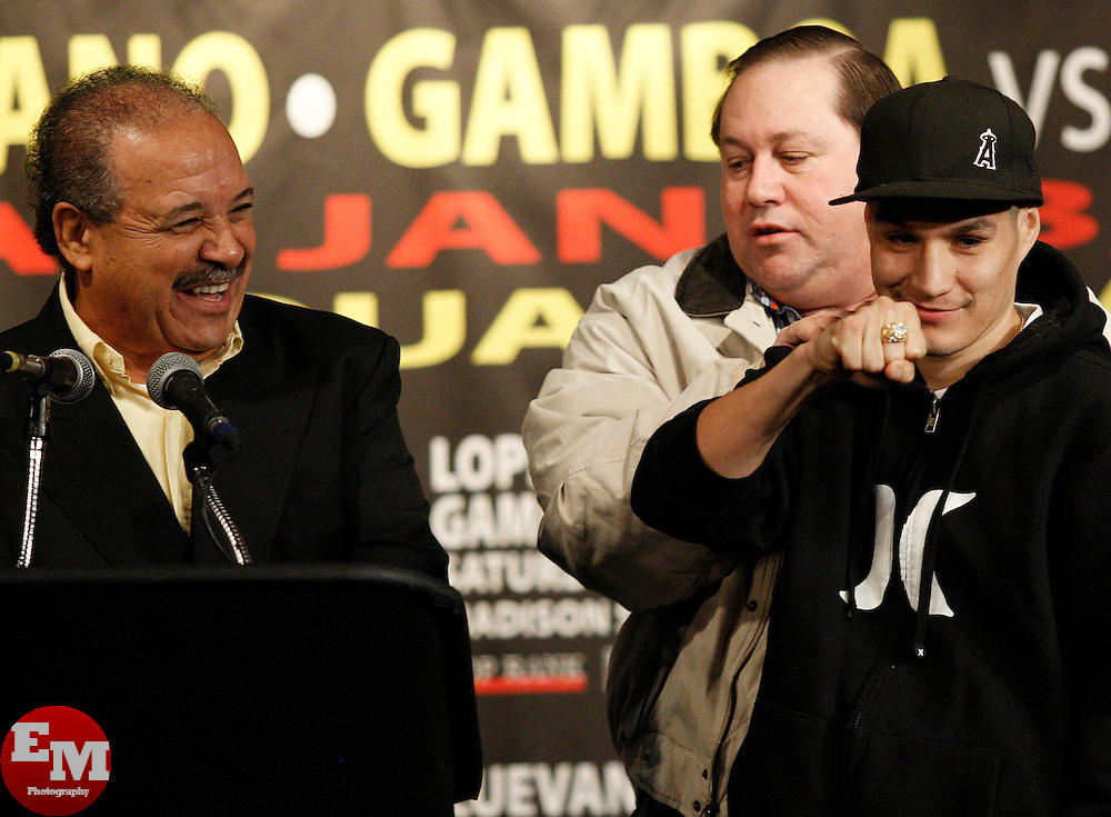 Jan 21, 2010; New York, NY; USA; WBO Champion Steven Luevano shows off his WBO ring at the press conference for his upcoming fight against challenger Juan Manuel Lopez.  The two will meet on Saturday at the Theater at Madison Square Garden.