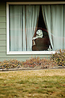Two dogs poke their heads out the curtain as they watch traffic passes by their house Monday on Eleventh Street in Coeur d'Alene.