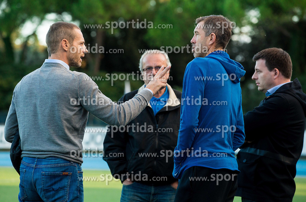 Aleksander Ceferin, president of NZS, Srecko Katanec, head coach of Slovenia and Ales Zavrl during the practice session of Team Slovenia 1 day before EURO 2016 Qualifier Group E match between Slovenia and San Marino, on October 11, 2015 in Riccione, Italy. Photo by Vid Ponikvar / Sportida