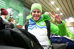 Barbara Jezersek at reception of Slovenia team arrived from Winter Olympic Games Sochi 2014 on February 24, 2014 at Airport Joze Pucnik, Brnik, Slovenia. Photo by Vid Ponikvar / Sportida