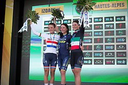 The top three placed riders celebrate on the podium after La Course 2017 - a 67.5 km road race, from Briancon to Izoard on July 20, 2017, in Hautes-Alpes, France. (Photo by Balint Hamvas/Velofocus.com)