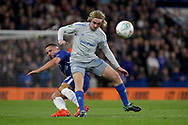 Danny Drinkwater of Chelsea and Tom Davies of Everton battle for the ball.<br /> EFL Carabao Cup 4th round match, Chelsea v Everton at Stamford Bridge in London on Wednesday 25th October 2017.<br /> pic by Kieran Clarke, Andrew Orchard sports photography.