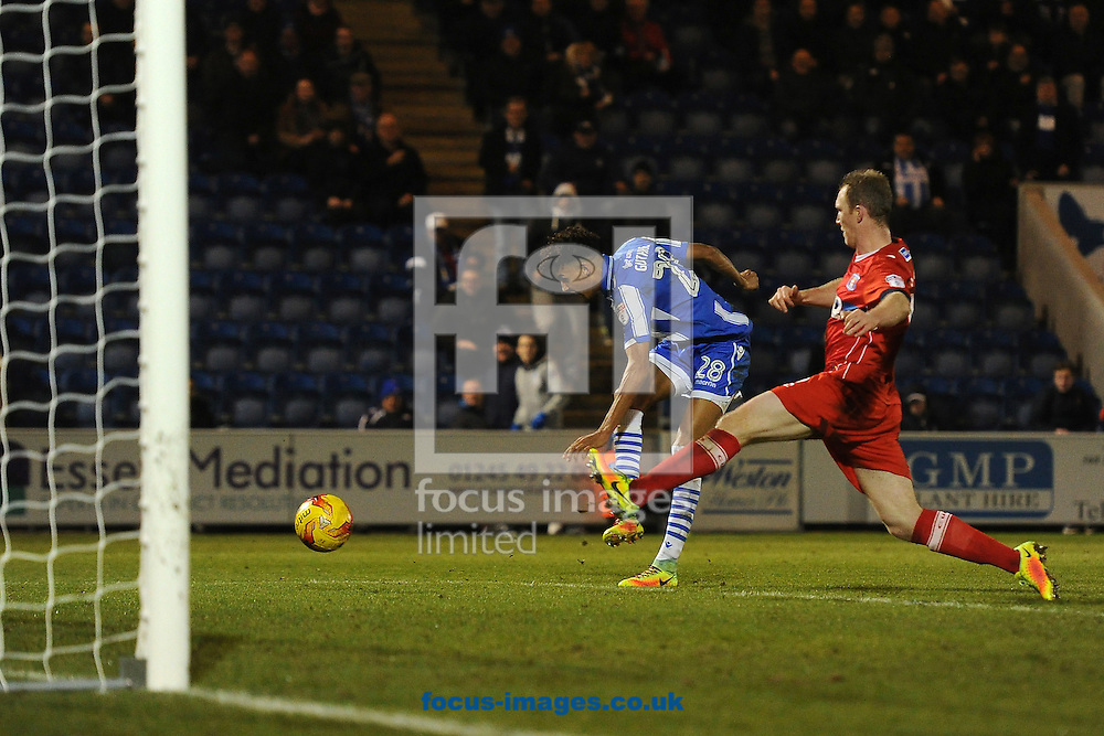 Kurtis Guthrie of Colchester United scores his sides fourth goal to make the scoreline 4-1 and to complete his hat-trick during the Sky Bet League 2 match between Colchester United and Carlisle United at the Weston Homes Community Stadium, Colchester<br /> Picture by Richard Blaxall/Focus Images Ltd +44 7853 364624<br /> 07/01/2017