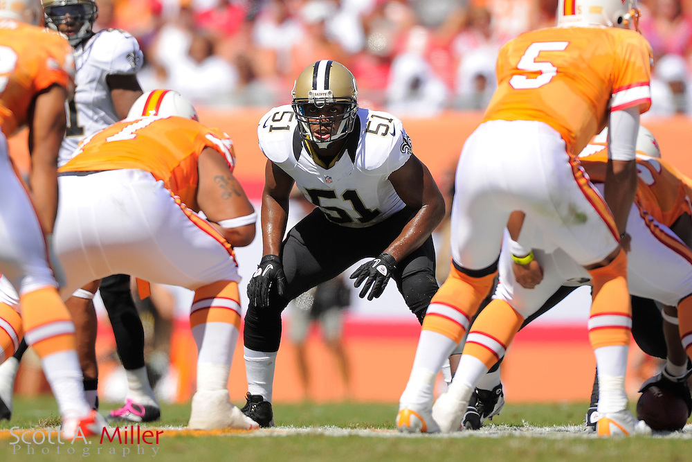 New Orleans Saints linebacker Jonathan Vilma (51) during the Saints game against the Tampa Bay Buccaneers during their game at Raymond James Stadium  on Oct. 21, 2012 in Tampa, Florida. ...©2012 Scott A. Miller...