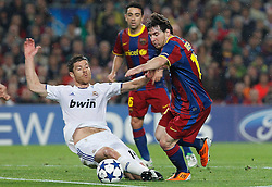 03-05-2011 VOETBAL: SEMI FINAL CL  FC BARCELONA - REAL MADRID: BARCELONA<br /> Lionel Messi and  Xabi Alonso<br /> *** NETHERLANDS ONLY***<br /> ©2011-FH.nl- EXPA/ Alterphotos/ Acero