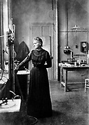 Marie Curie (1867-1934) Polish-born French physicist in her laboratory, 1912, the year after she was awarded her second Nobel prize (for chemistry).  Awarded Nobel prize for physics in 1903 jointly with her husband, Pierre, and Henri Becquerel.