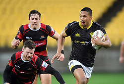 Wellington's Malo Tuitama runs away from the Canterbury defence in the Mitre 10 Rugby match at Westpac Stadium, Wellington, New Zealand, Sunday September 17,, 2017. Credit:SNPA / Ross Setford  **NO ARCHIVING**