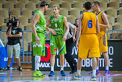 Jaka Blazic and Miha Zupan of Slovenia during friendly basketball match between National teams of Slovenia and Ukraineat day 1 of Adecco Cup 2015, on August 21 in Koper, Slovenia. Photo by Grega Valancic / Sportida