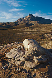 Boulders below south face of El Capitan peak, at 8,085 feet in Guadalupe Mountains National Park, Texas, USA.  South face of El Capitan peak, at 8,085 feet in Guadalupe Mountains National Park, Texas, USA.