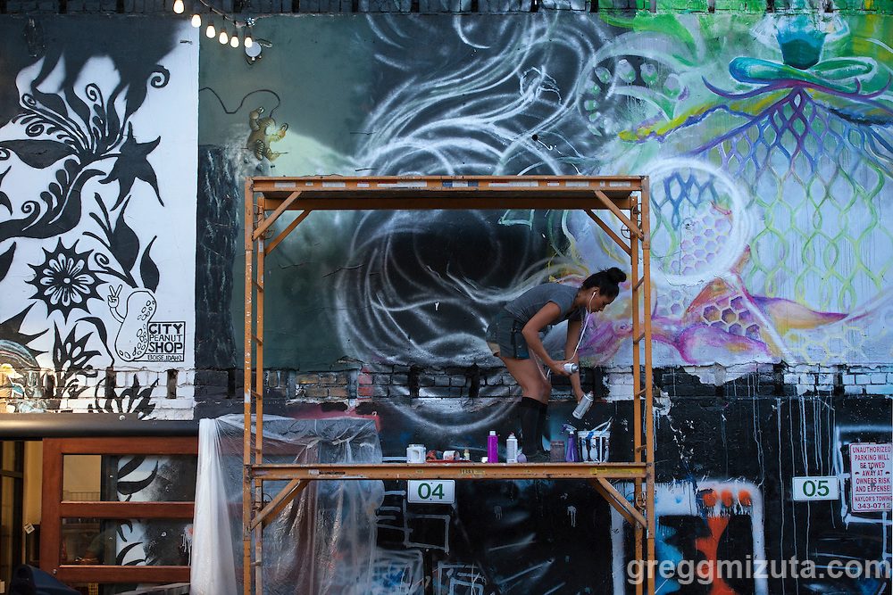 Maria Ayala works on her mural in the evening of August 11, 2016 during the Freak Alley Gallery sixth annual mural event in downtown Boise, Idaho.<br /> <br /> Her mural features four female forms as representations of the four elements; water, air, earth, and fire.<br /> <br /> Freak Alley Gallery's week long event provided an &quot;art-in-motion&quot; experience as it welcomed the public to watch artists work on their murals.