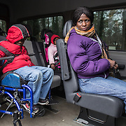Atlanta, Georgia/Central Africa Republic Refugee/Nestorine Lakas, 27, with her son Eric,7, and daughter Carol, 3, head to a doctor's appointment for her son Eric. Eric has cerebral palsy and is transported to his appointments by the IRC. Nestorine arrived in the U.S. in 2010 with her two young children from the Central African Republic. Eric requires a wheelchair and specialized healthcare. At the IRC in Atlanta, Nestorine is part of the Temporary Assistance for Needy Families (TANF) program where she is learning English, job skills and basic computer literacy so she can support her family as a single mom and learn how to manage her son's health needs. Unfortunately the father of Nestorine's children was not able to come to the U.S. with her, so she cares for her children and dreams of reuniting with him someday. Nestorine believes what makes her successful is &quot;working hard and overcoming challenges.&quot;<br />