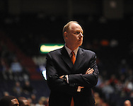 "Miami head coach Jim Larranaga against Mississippi at the C.M. ""Tad"" Smith Coliseum in Oxford, Miss. on Friday, November 25, 2011."