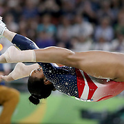 Gymnastics - Olympics: Day 4   Gabrielle Douglas of the United States performing her routine on the Horizontal bar during the Artistic Gymnastics Women's Team Final at the Rio Olympic Arena on August 9, 2016 in Rio de Janeiro, Brazil. (Photo by Tim Clayton/Corbis via Getty Images)