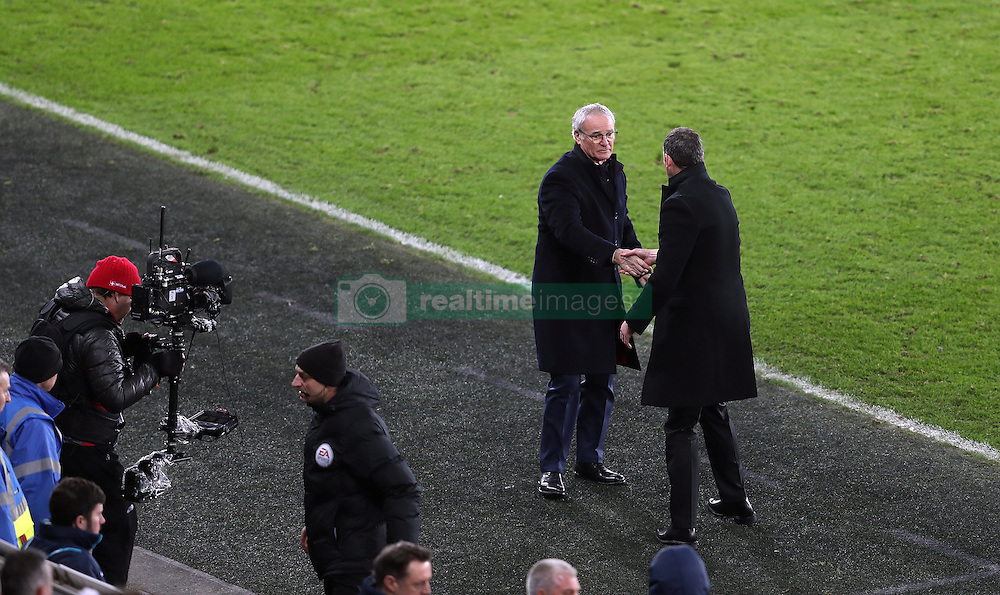 Swansea City's manager Paul Clement and Leicester City's Claudio Ranieri