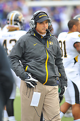 Nov 14, 2009; Manhattan, KS, USA;  Missouri Tigers head coach Gary Pinkel surveys the team from the sidelines before the game agains the Kansas State Wildcats at Bill Snyder Family Stadium. Mandatory Credit: Denny Medley-US PRESSWIRE