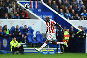 Stoke City defender Bruno Martins Indi (15) heads the ball during the Premier League match between Leicester City and Stoke City at the King Power Stadium, Leicester, England on 1 April 2017. Photo by Jon Hobley.