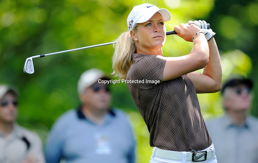Suzann Pettersen of Norway plays a shot from the 11th tee during a practice round ahead of the U.S. Women's Open golf championship at the Saucon Valley Country Club in Bethlehem, Pennsylvania.