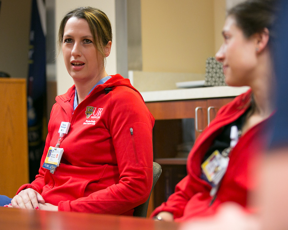 Marcie Metroyanis, Nurse Manager in Strong Memorial Hospital's Burn and Trauma Intensive Care Unit, speaks during a support session for staff on Thursday, April 30, 2015.
