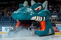 KELOWNA, CANADA - MARCH 13:  Roman Basran #30 of the Kelowna Rockets enters the ice against the Spokane Chiefs on March 13, 2019 at Prospera Place in Kelowna, British Columbia, Canada.  (Photo by Marissa Baecker/Shoot the Breeze)