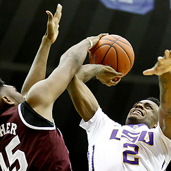 Jan 7, 2017; Baton Rouge, LA, USA; Mississippi State Bulldogs center E.J. Datcher (45) blocks a shot by LSU Tigers guard Antonio Blakeney (2) during the second half of a game at the Pete Maravich Assembly Center. LSU defeated Mississippi State 95-78. Mandatory Credit: Derick E. Hingle-USA TODAY Sports