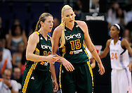 Sep 17, 2011; Phoenix, AZ, USA; Seattle Storm guard Katie Smith (14) and forward Lauren Jackson (15) talk on the court while playing against the Phoenix Mercury during the first half at the US Airways Center.  The Mercury defeated the Storm 92 - 83. Mandatory Credit: Jennifer Stewart-US PRESSWIRE