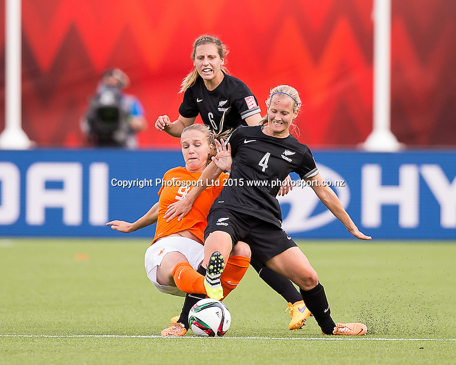 Vivianne Miedema, Katie Duncan. Edmonton, Alberta, Canada, June 6, 2015.  The opening day of the Women's World Cup at Commonwealth Stadium.  New Zealand was defeated by Netherlands 1-0.