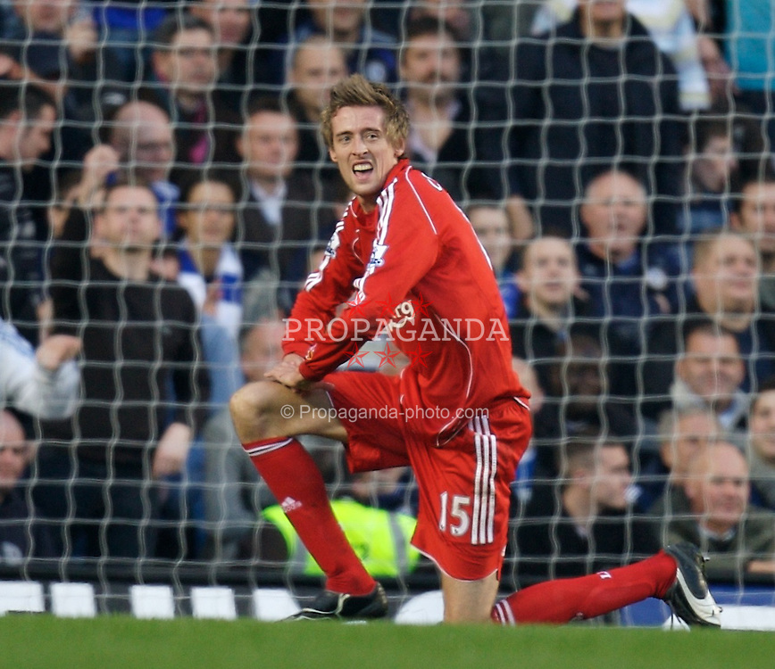 LONDON, ENGLAND - Sunday, February 10, 2008: Liverpool's Peter Crouch sees his header saved by Chelsea's Petr Cech during the Premiership match at Stamford Bridge. (Photo by David Rawcliffe/Propaganda)