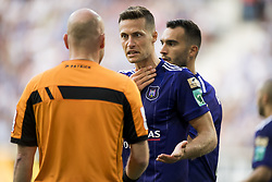 August 27, 2017 - Gent, BELGIUM - referee Sebastien Delferiere and Anderlecht's Uros Spajic react during the Jupiler Pro League match between KAA Gent and RSC Anderlecht, in Gent, Sunday 27 August 2017, on the fifth day of the Jupiler Pro League, the Belgian soccer championship season 2017-2018. BELGA PHOTO JASPER JACOBS (Credit Image: © Jasper Jacobs/Belga via ZUMA Press)