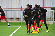 Carshalton Athletic players warm up during the Ryman League - Div One South match between Carshalton Athletic and South Park FC at War Memorial Sports Ground, Carshalton, United Kingdom on 19 November 2016. Photo by Jon Bromley.