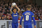 Jake Reeves midfielder for AFC Wimbledon (8) and Barry Fuller (Captain) defender for AFC Wimbledon (2) during  the Sky Bet League 2 Play-Off first leg match between AFC Wimbledon and Accrington Stanley at the Cherry Red Records Stadium, Kingston, England on 14 May 2016. Photo by Stuart Butcher.