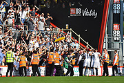 Goal - Aleksandar Mitrovic (9) of Fulham celebrates scoring a goal to give a 0-1 lead to the away team in front of the jubilant Fulham fans during the Premier League match between Bournemouth and Fulham at the Vitality Stadium, Bournemouth, England on 20 April 2019.