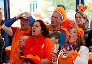 Nederlandse supporters in de Oranjestraat (Irenestraat) in Goirle balen van het verlies na de EK-wedstrijd Nederland-Denemarken die in Charkov, Oekraine werd gespeeld. robin utrecht