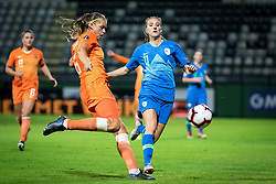 Anouk Dekker of Nederland  and Lara Prašnikar of Slovenia during football match between Slovenia and Nederland in qualifying Round of Woman's qualifying for EURO 2021, on October 5, 2019 in Mestni stadion Fazanerija, Murska Sobota, Slovenia. Photo by Blaž Weindorfer / Sportida
