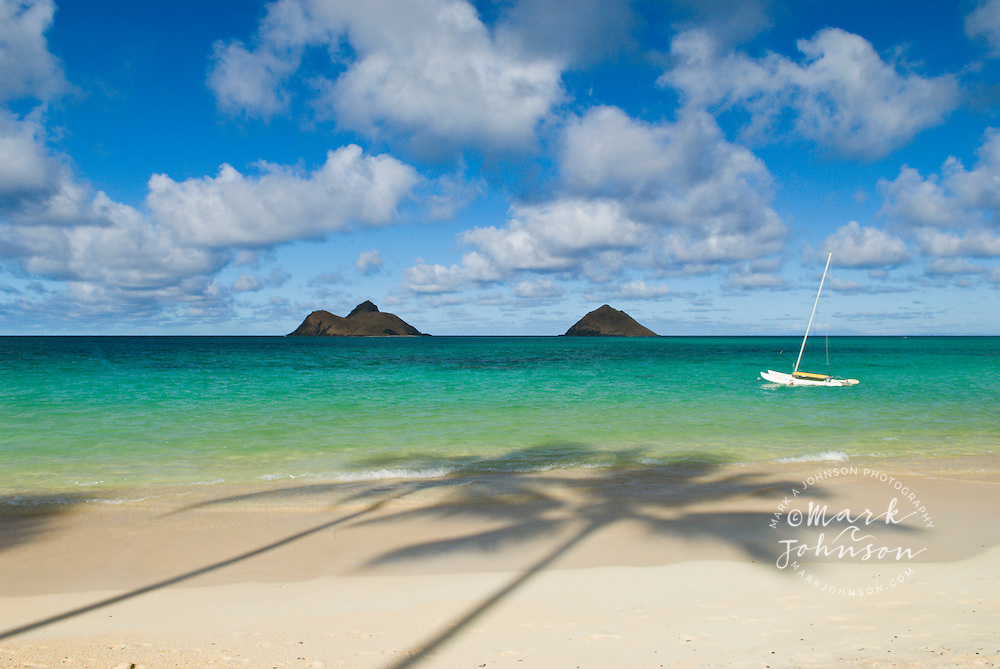 Palm Tree shadows on Lanikai Beach, Mokulua Islands offshore, Oahu, Hawaii