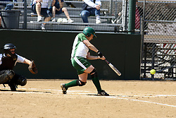 05 April 2008: Ashley Deck puts that ball into play. The Carthage College Lady Reds lost the first game of this double header to the Titans of Illinois Wesleyan 4-1 at Illinois Wesleyan in Bloomington, IL